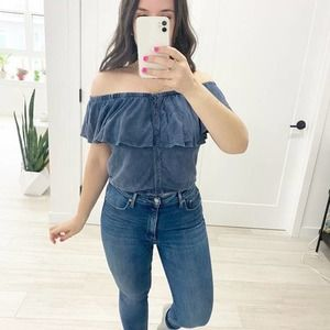 We The Free Blue Off the Shoulder Button Top Sz XS
